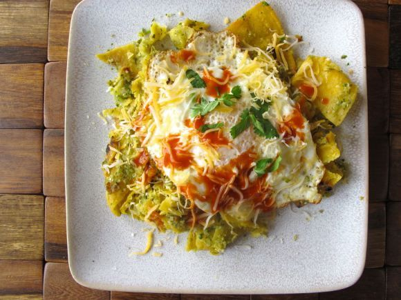 Chilaquiles Verdes with Roasted Tomatillo Salsa