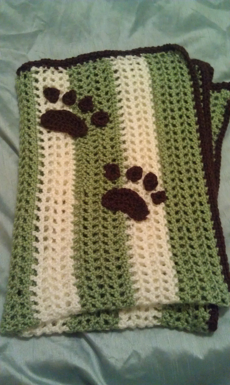 Crocheted Pawprint baby boy blanket  Crochet Projects  Pinterest Crochet Blanket For A Boy