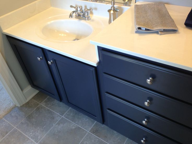 blue cabinets guest bathroom for the home pinterest
