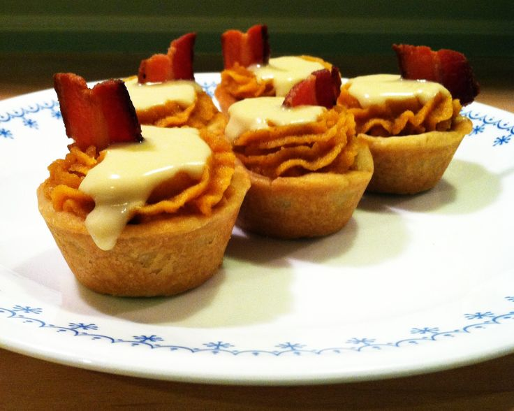 Whiskey/Maple/Bacon/Sweet Potato MiniPies! Maple shortbread crust with ...
