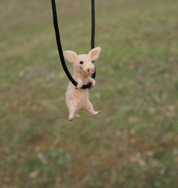 Tiny Pig Necklace - needle felted