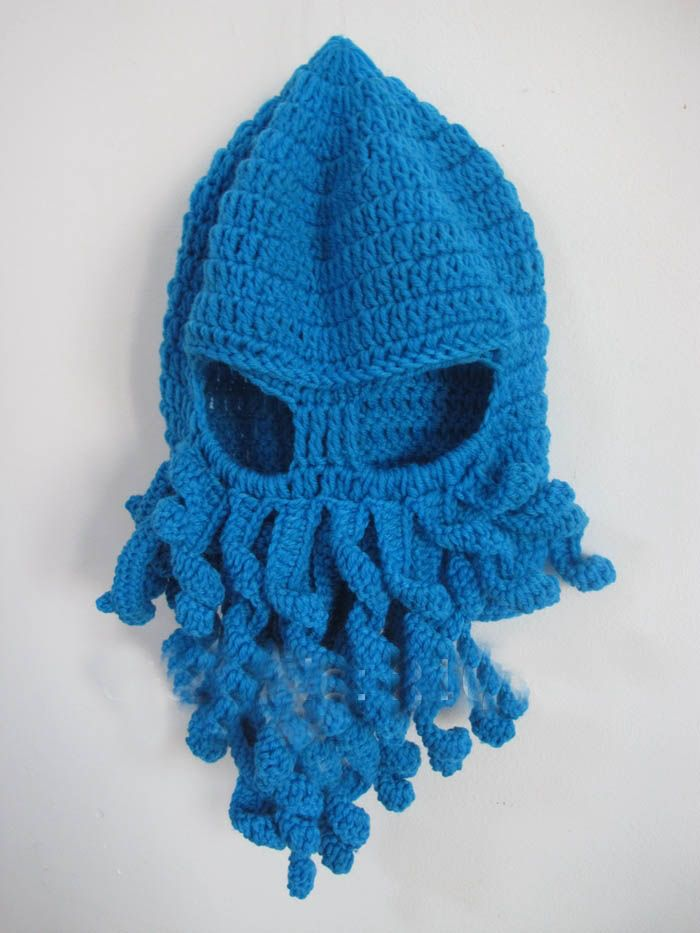 Crochet Octopus Hat : Handmade Crochet Knitted Octopus Mask Hat Cap in