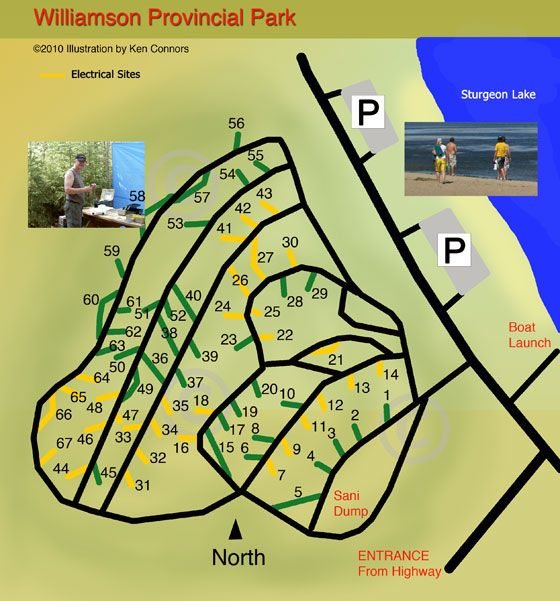 Williamson Provincial Park Campground Map  Sturgeon Lake