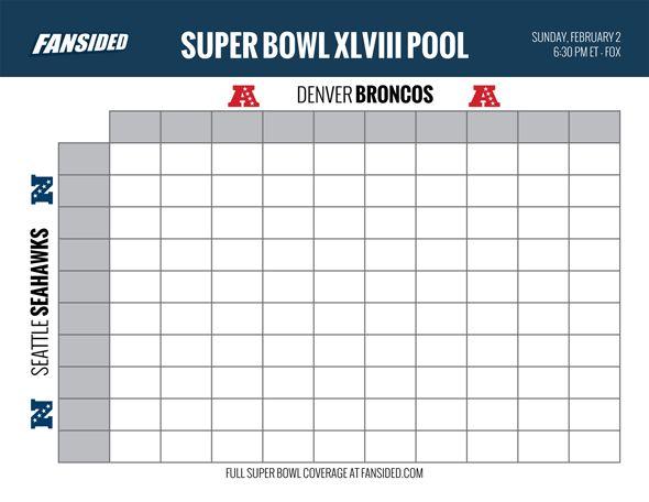 ... Super Bowl 2014 Seahawks vs Broncos: Printable box/square pool board