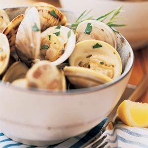 Clams with White Wine, Lemon, Butter, Garlic, Shallot, Basil, Rosemary ...
