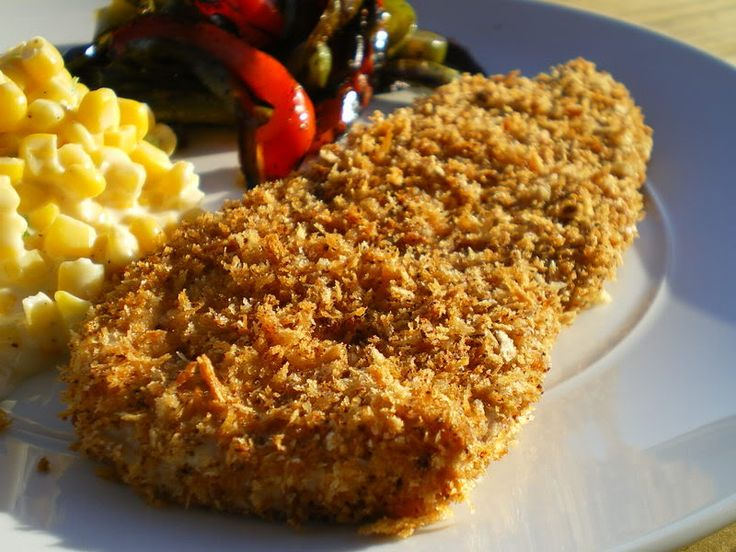 crispy panko breaded pork chops. I brown the panko on the stovetop in ...