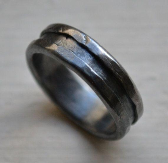 Unisex Silver Wedding Ring Handmade Artisan Designed Oxidized Fine