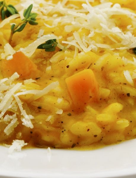 risotto with pumpkin, thyme and fresh goat cheese