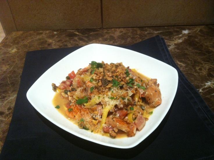 Sea-fari Pasta ~ Salmon and shrimp sautéed in a white wine butter ...