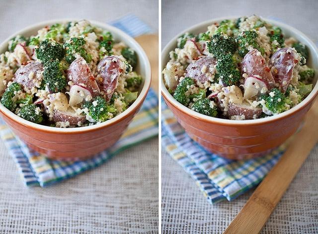 potato and broccoli quinoa salad with garlic aioli, add some mustard ...