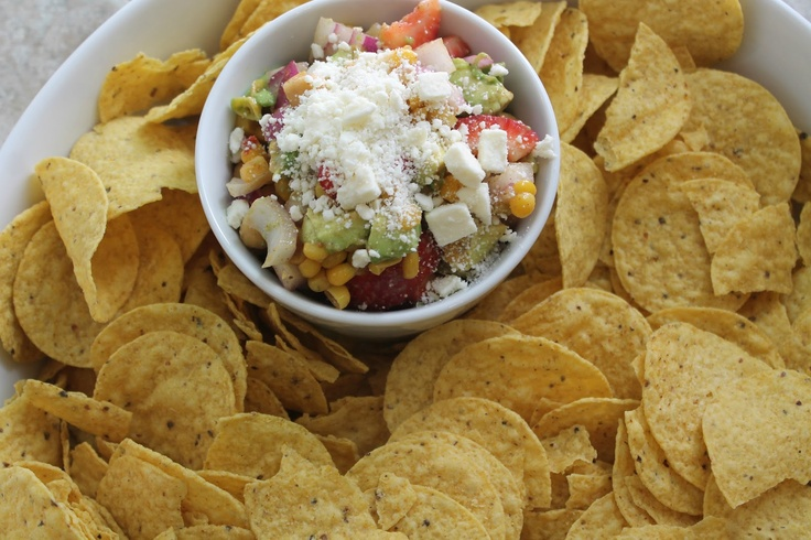 strawberry, corn, and avocado salsa   Dips   Pinterest