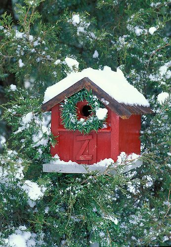 Red Barn Birdhouse Decorated Christmas Diy Pinterest