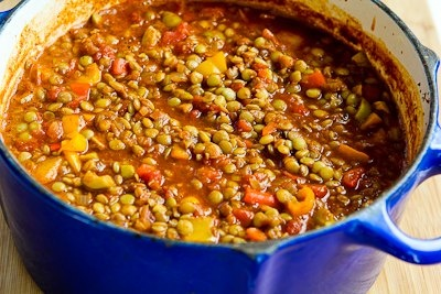 Vegan Picadillo Lentil Stew with Sweet Bell Peppers and Green Olives ...