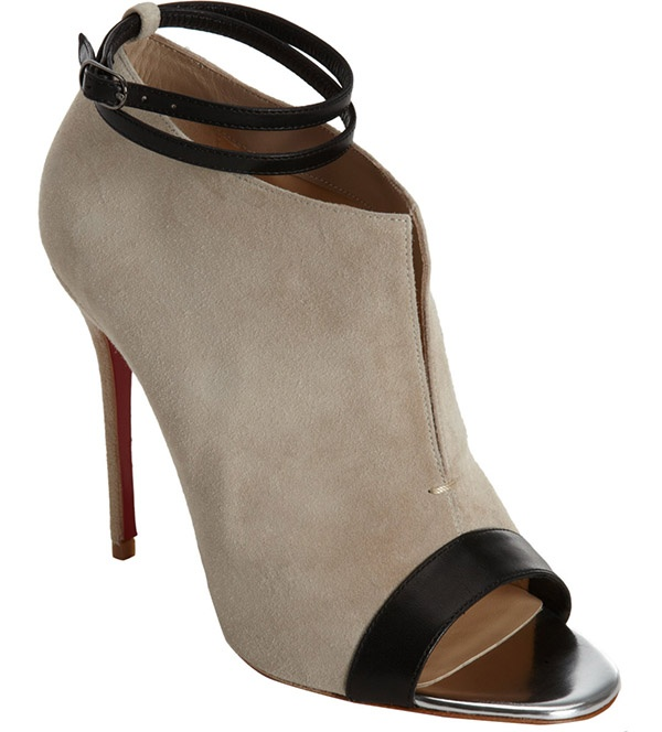 Christian Louboutin Diptic Booties in Taupe Suede, $995