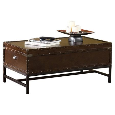 coffee table with interior storage and nailhead trim. Product: Coffee ...