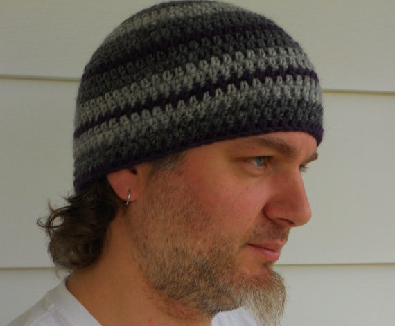 Mens Crocheted Beanie Hat in Stripes by AnnieKints on Etsy, $20.00