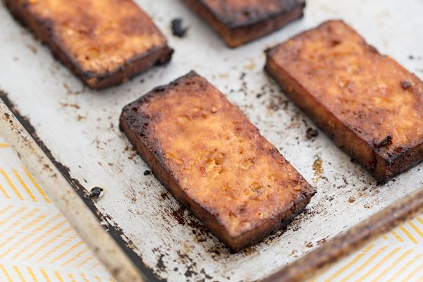 Baked Tofu / like the instructions on recipe at bottom - don't mince ...