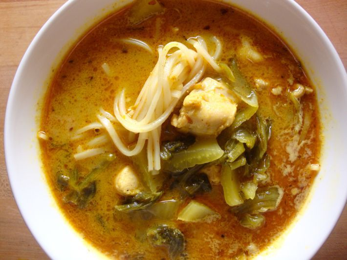 Curry Chicken Noodle Soup With Pickled Mustard Greens...