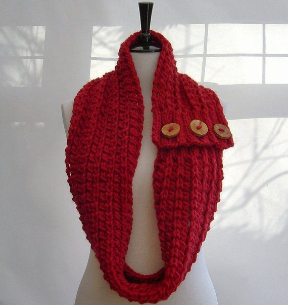 Simple Knitting Pattern For Infinity Scarf : KNITTING PATTERN Infinity Scarf Cowl with Button tab Digital delivery