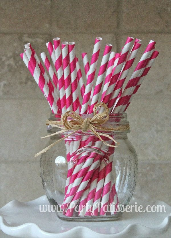 25 Bright Pink and White Striped Paper Party Straws. $4.25, via Etsy.