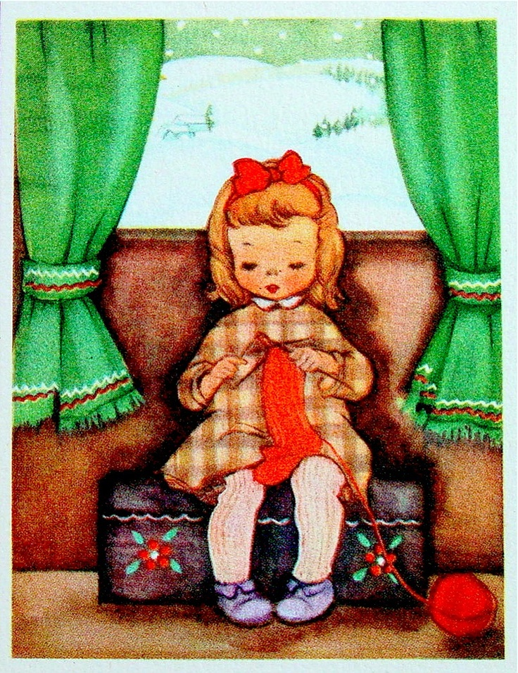 Little girl knitting Christmas stocking.