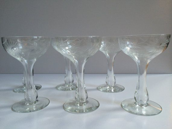 Reserved listing vintage hollow stem etched glass champagne coupes set of 12 clear glass - Hollow stem champagne glasses ...