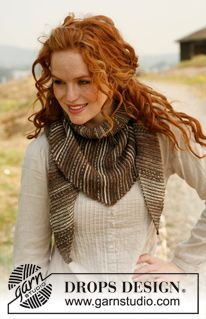 "Knitted DROPS shawl in garter st with stripes in ""Fabel"". ~ DROPS ..."