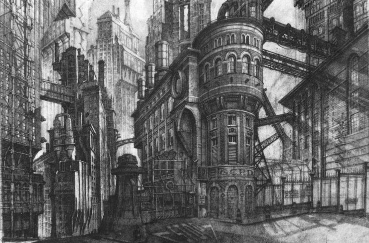 Towering BATMAN 1989 Gotham City Concept Art by Anton Furst and Nigel ...