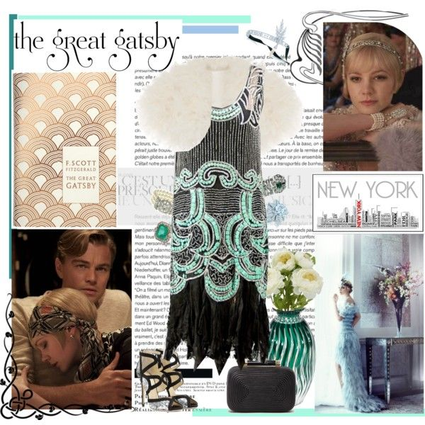 awesome Great Gatsby fashion inspired, art deco outfit, black and turquoise