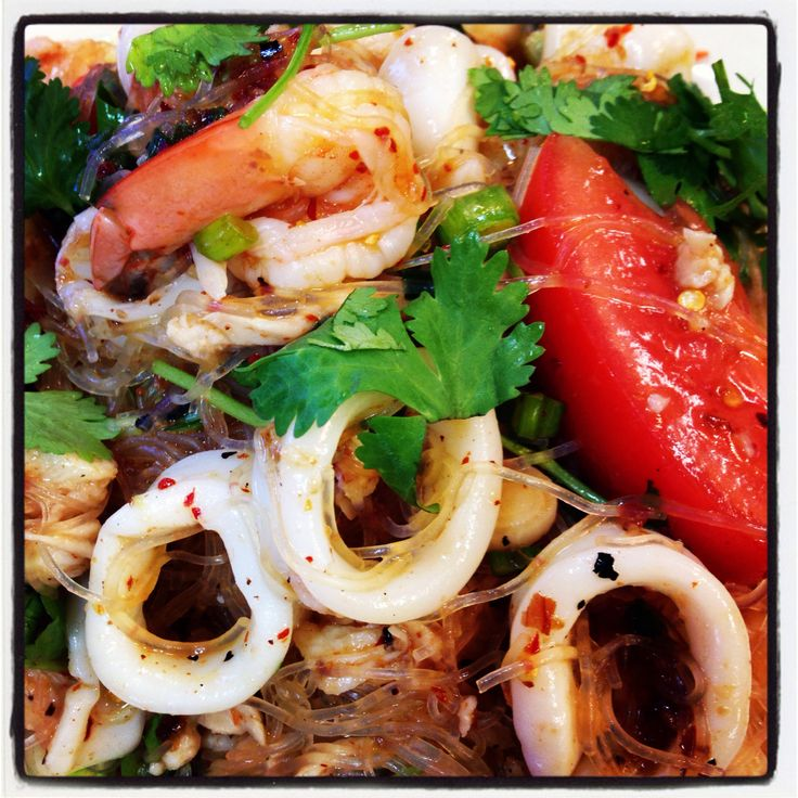 Yum Woon Sen Talay (Thai Seafood Salad) #thaifood