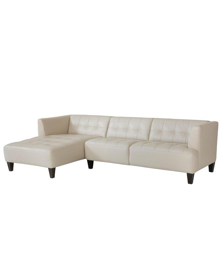 Alessia Leather Sectional Sofa, 2 Piece Chaise 109u0026quot;W x 65u0026quot;D x 28u0026quot;H