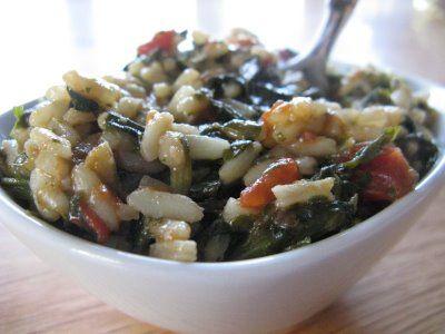 spanakorizo- Greek spinach rice (when I made it I used kale, though)