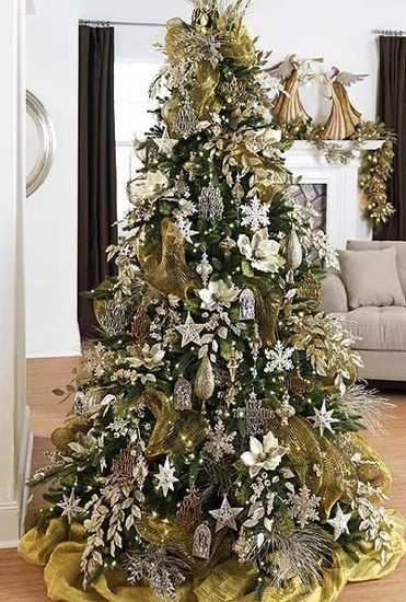 silver and gold tree christmas trees pinterest. Black Bedroom Furniture Sets. Home Design Ideas