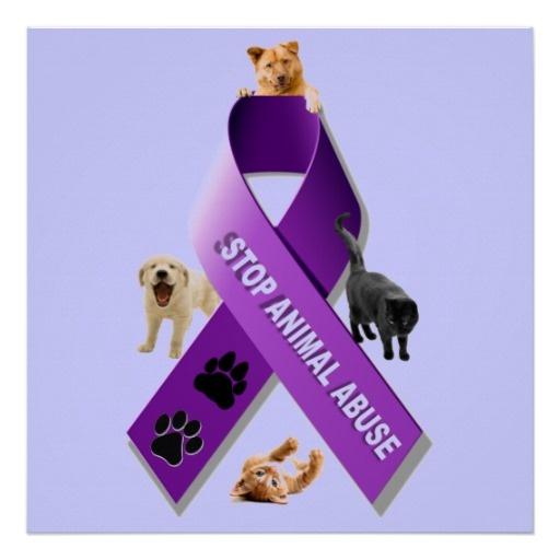 Animal Abuse Awareness Ribbon Poster #animalabuseawareness #stopanimalabuse