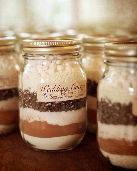 Hot Cocoa in Mason Jar DIY Wedding Favor