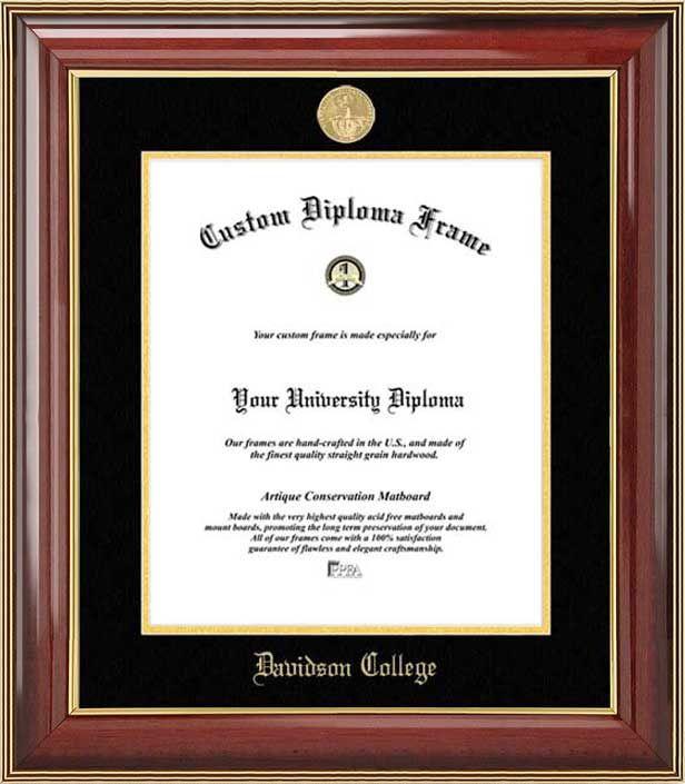 Davidson College Diploma Frame - Gold Medallion - Mahogany Gold Trim