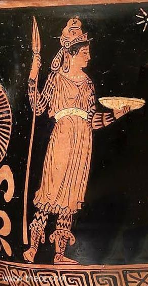 Bendis, the Thracian goddess, with fox-cap & hunting spears | Greek vase, Apulian red figure krater