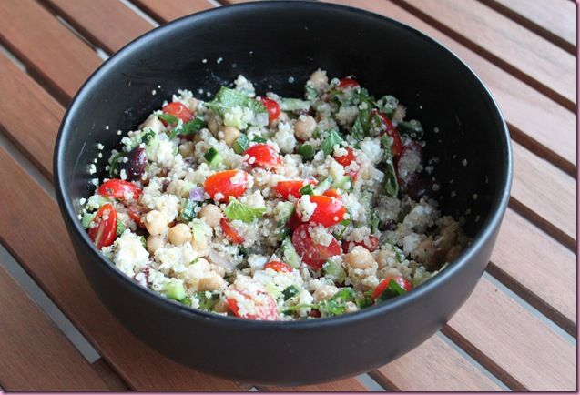 Greek Quinoa and Chickpea Salad with Goat Cheese ~use lentils in place ...