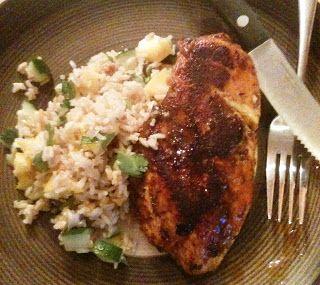 Jamaican Jerk Chicken with Mango Cucumber Rice Salad