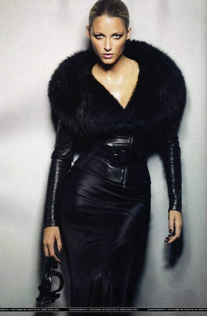 Black leather and fur