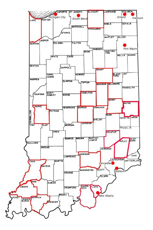 Indiana Map for underground railroad