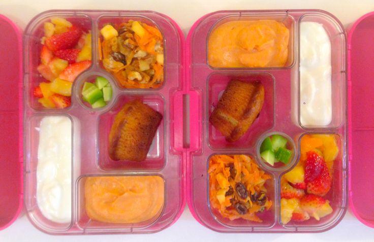 ... salad, Dora's date muffin, red pepper & white bean dip, yoghurt