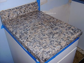 ... laminate countertops--also look into epoxy paint--very durable
