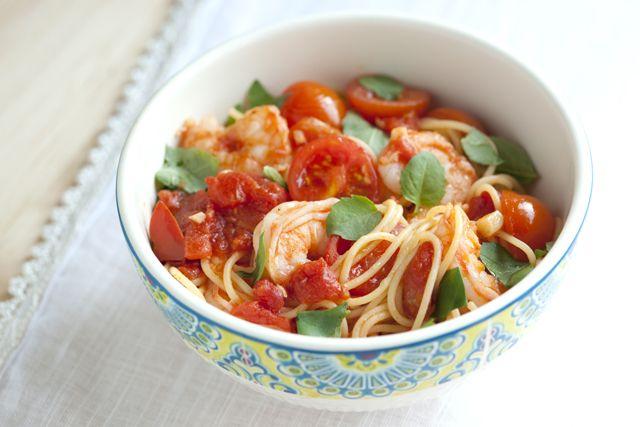 ... simple, beautiful dish... Shrimp Pasta with Tomato and Basil Recipe