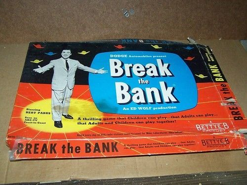 vintage tv board game break the bank 1955. Black Bedroom Furniture Sets. Home Design Ideas