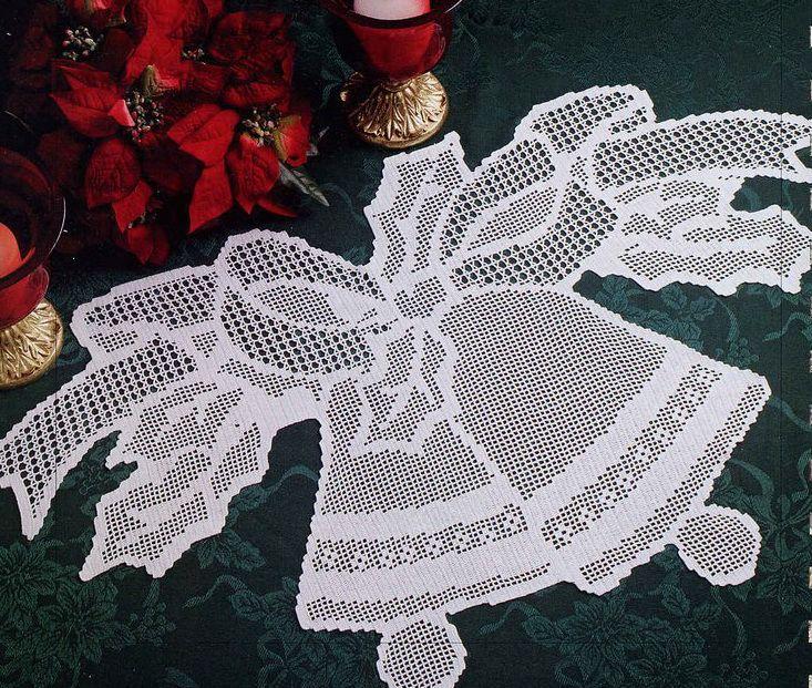 Новогодняя скатерть крючком филейное вязание 72