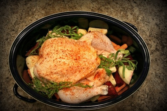 Tarragon-roasted root vegetables with or without a whole chicken or ...