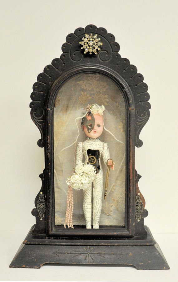 One of a kind gorgeous have to have bride doll assemblage doll mounte - Steampunk mantle clock ...