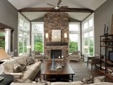 Fireplace and windows