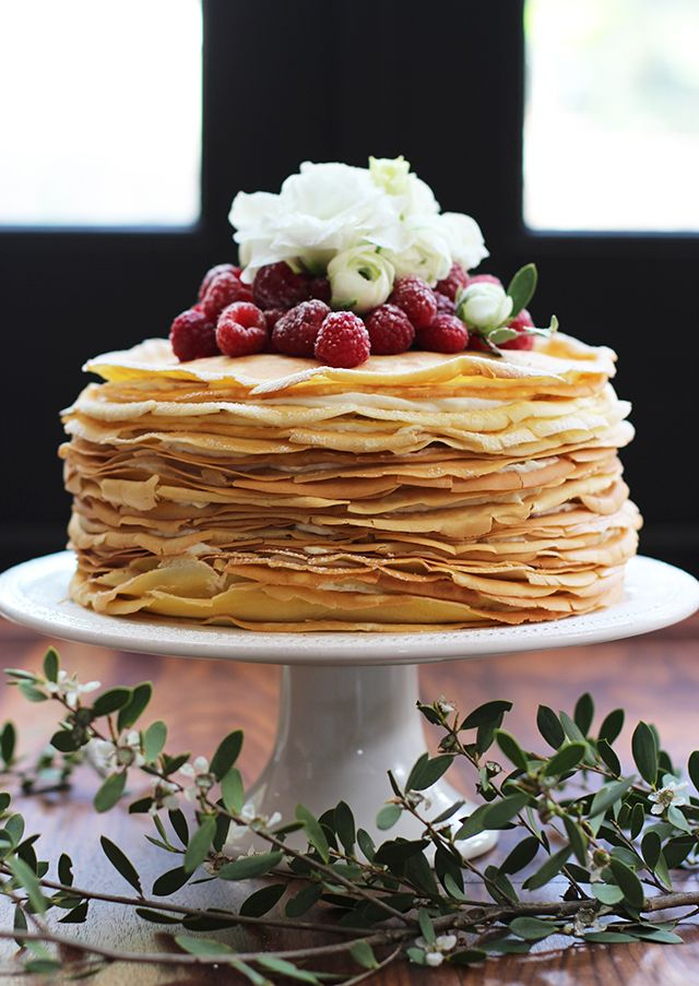 ... cake for the wedding...fiancé hates cake. Lemon Mascarpone Crepe Cake